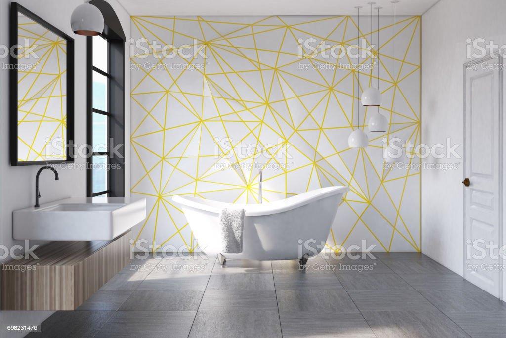 Weiße Badezimmer Gelben Muster Konkrete Stockfoto und mehr ...