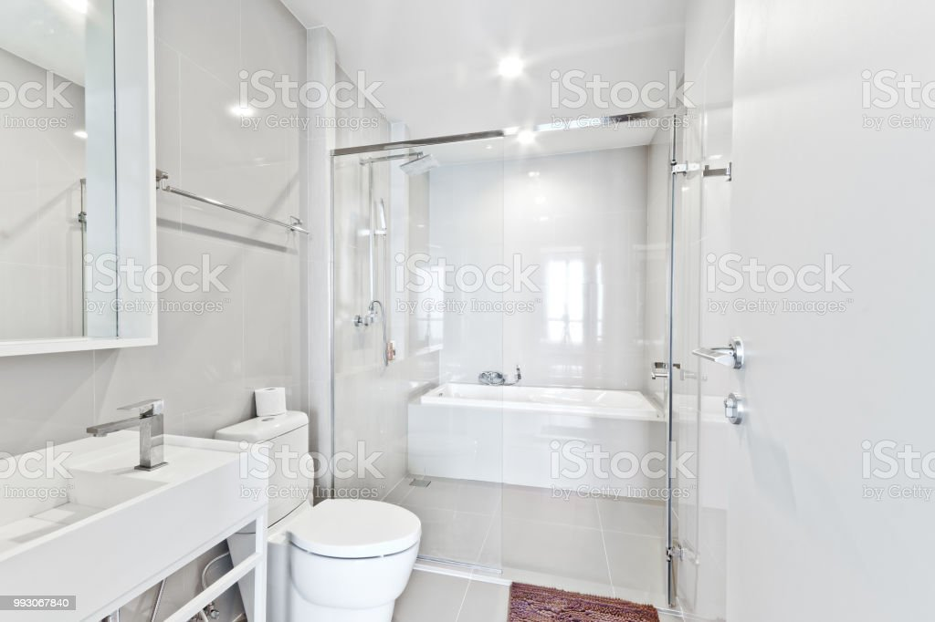 white bathroon stock photo