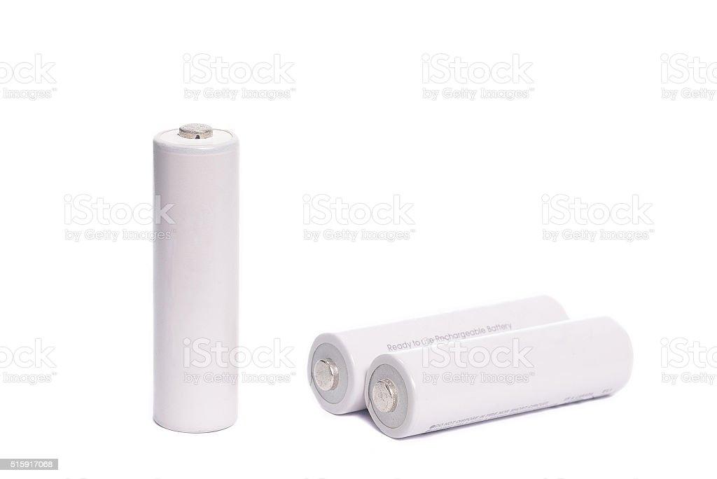 White battery on white background stock photo