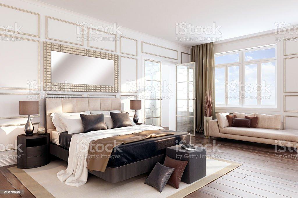 White Bauhaus-Schlafzimmer Innenansicht – Foto