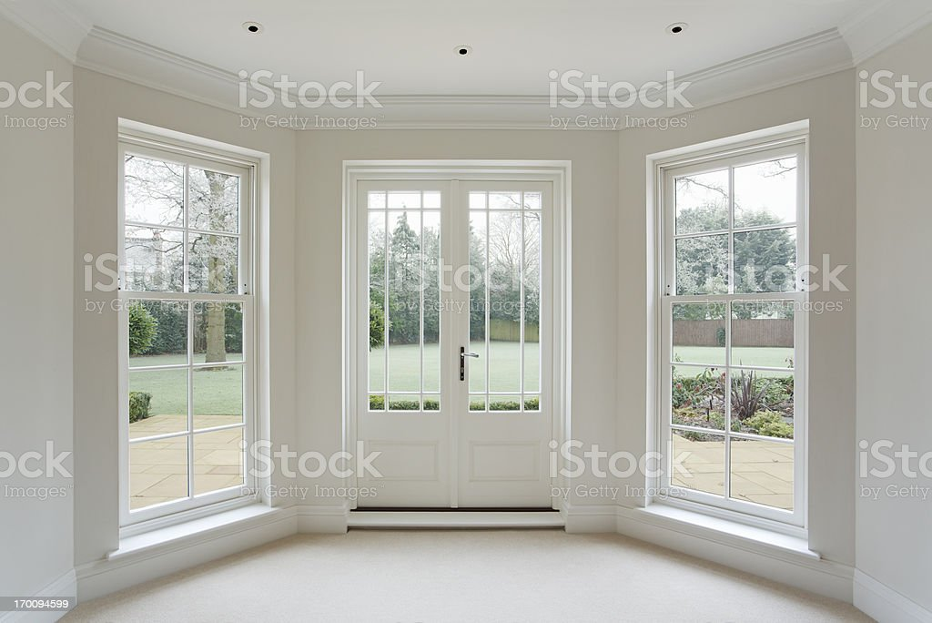 White bay windows and french doors stock photo more for Window outer design