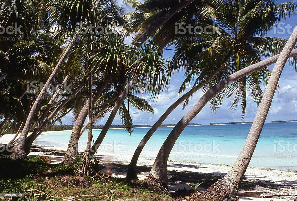 White beach clear blue water interior atoll lagoon Marshall Islands stock photo