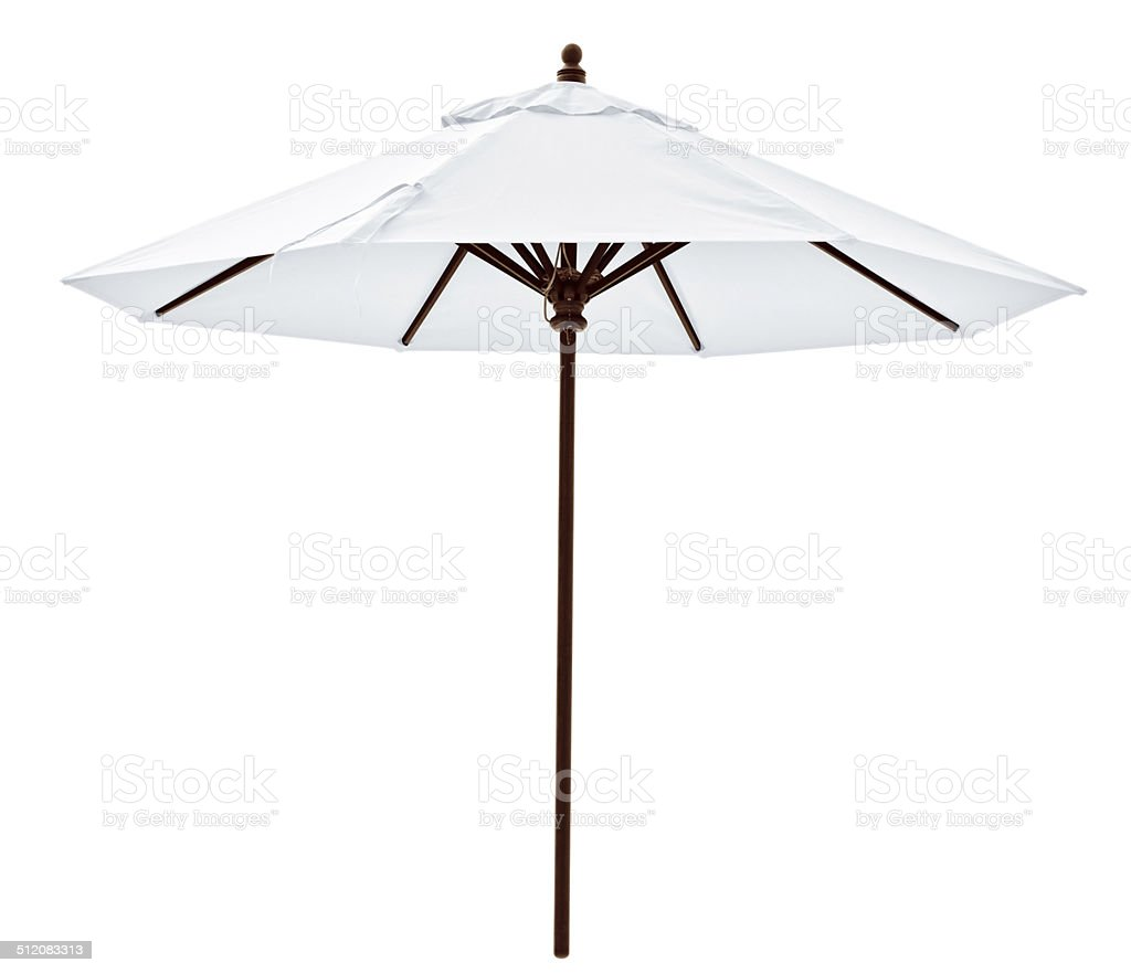 White beach umbrella stock photo