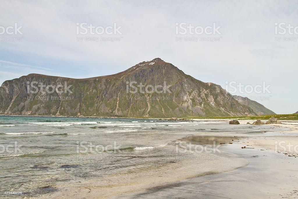 White beach with mountain in Norway royalty-free stock photo