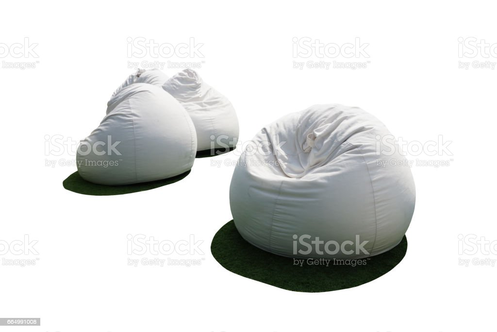 white bean bags isolated stock photo