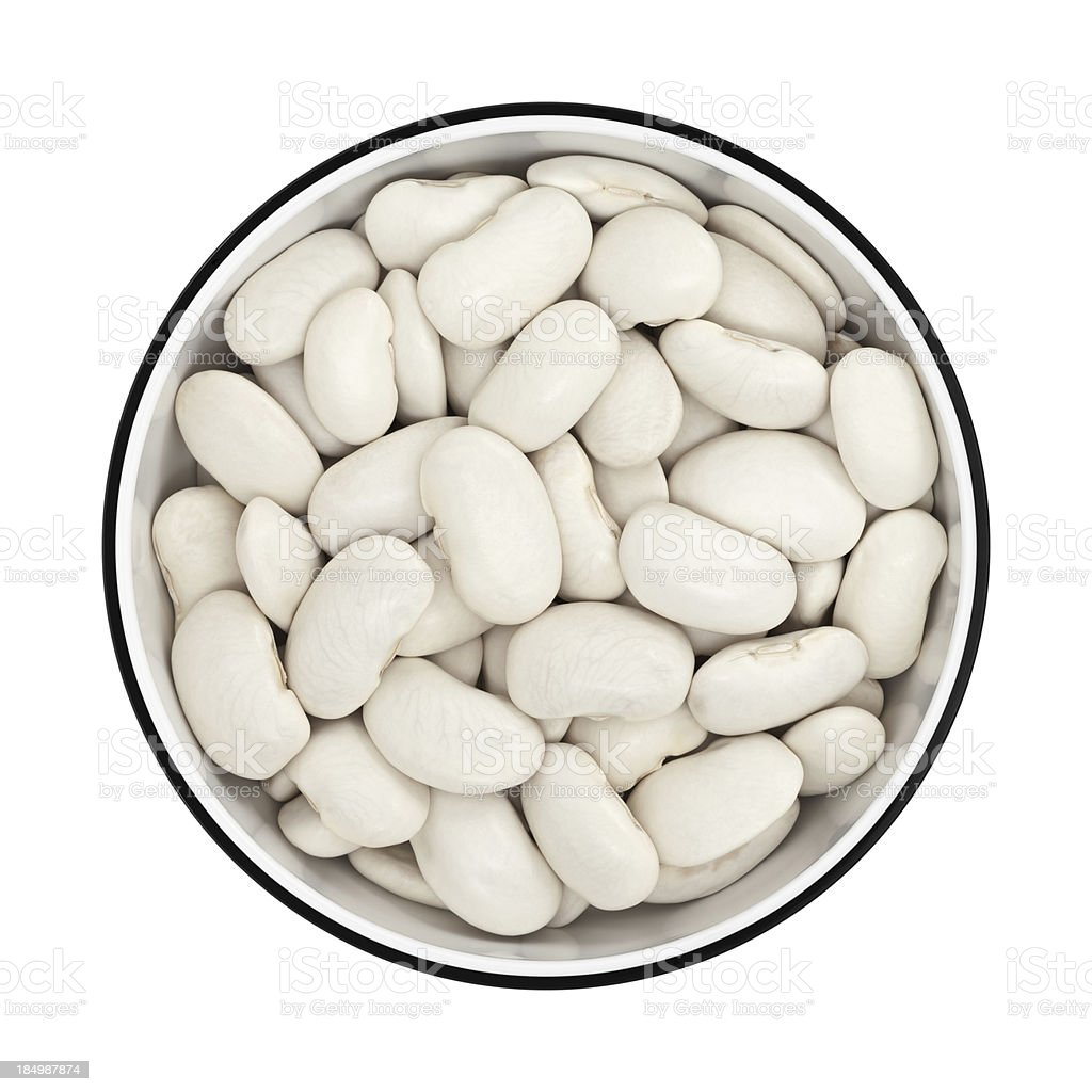 White beans in a bowl from directly above stock photo