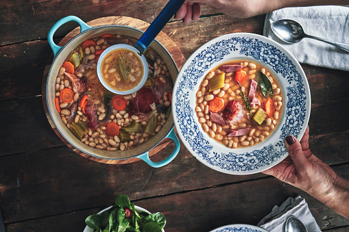 White Beans With Pork Shank In The Crock Pot
