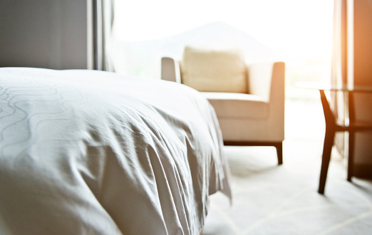 White Bedding In Modern Bedroom Stock Photo - Download ...