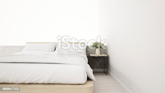 924294300 istock photo white bedroom in apartment or house - 3D Rendering 689847202