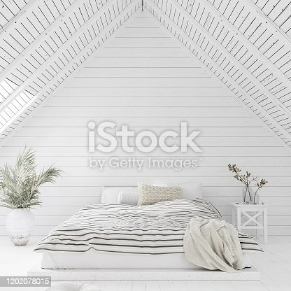 White bedroom interior in attic, 3d render