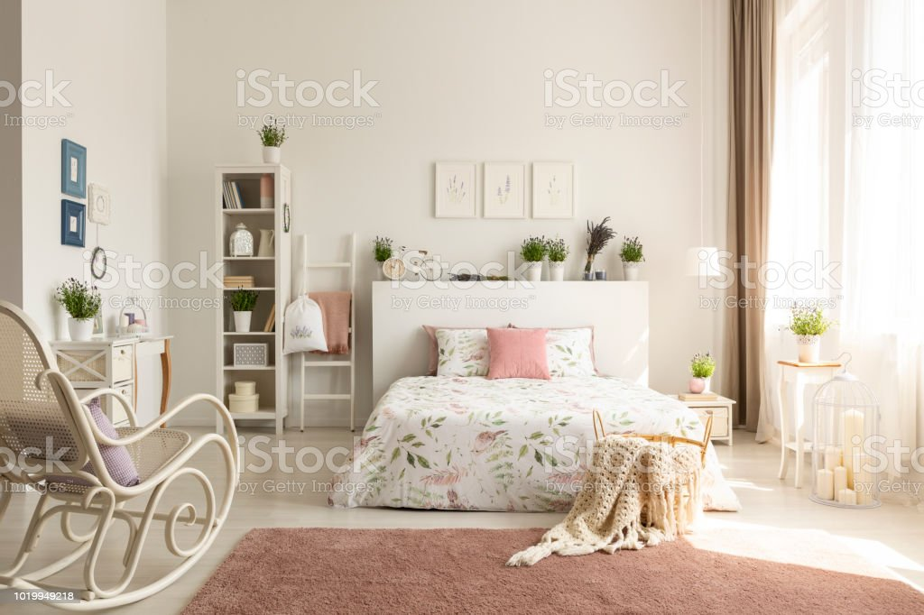 White Bedroom Interior With Dirty Pink Carpet Rocking Chair ...