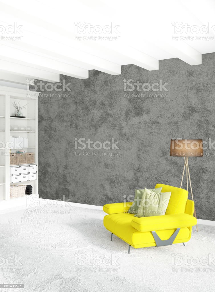 White bedroom minimal style Interior design with wood wall and grey sofa. 3D Rendering. 3D illustration stock photo