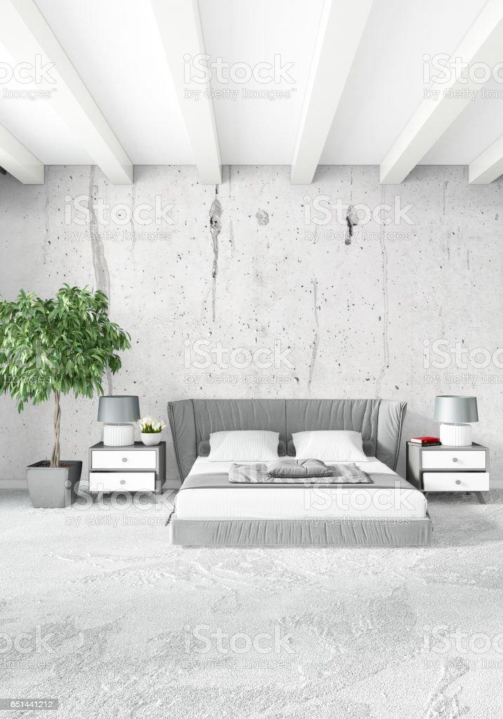 White Bedroom Minimal Style Interior Design With Wood Wall And Grey Sofa 3d Rendering 3d Illustration Stokovye Fotografii I Drugie Kartinki Bez Lyudej Istock