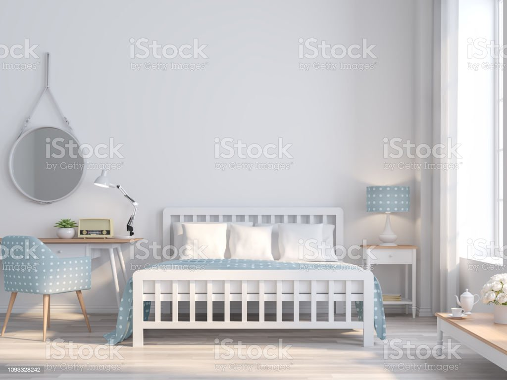 White Bedroom Vintage Style For Teenage Idea 3d Render Stock Photo