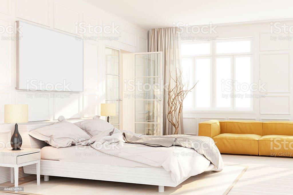 Weißes Schlafzimmer Wallart Textfreiraum – Foto