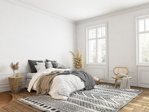 White bedroom with decor, classic scandinavian style. 3d render illustration mockup.