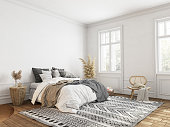 istock White bedroom with decor, classic scandinavian style. 3d render illustration mockup. 1284041562