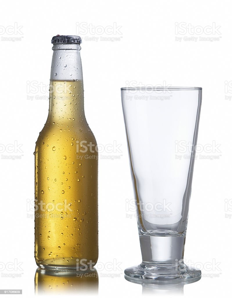 White beer bottle and glass royalty-free stock photo