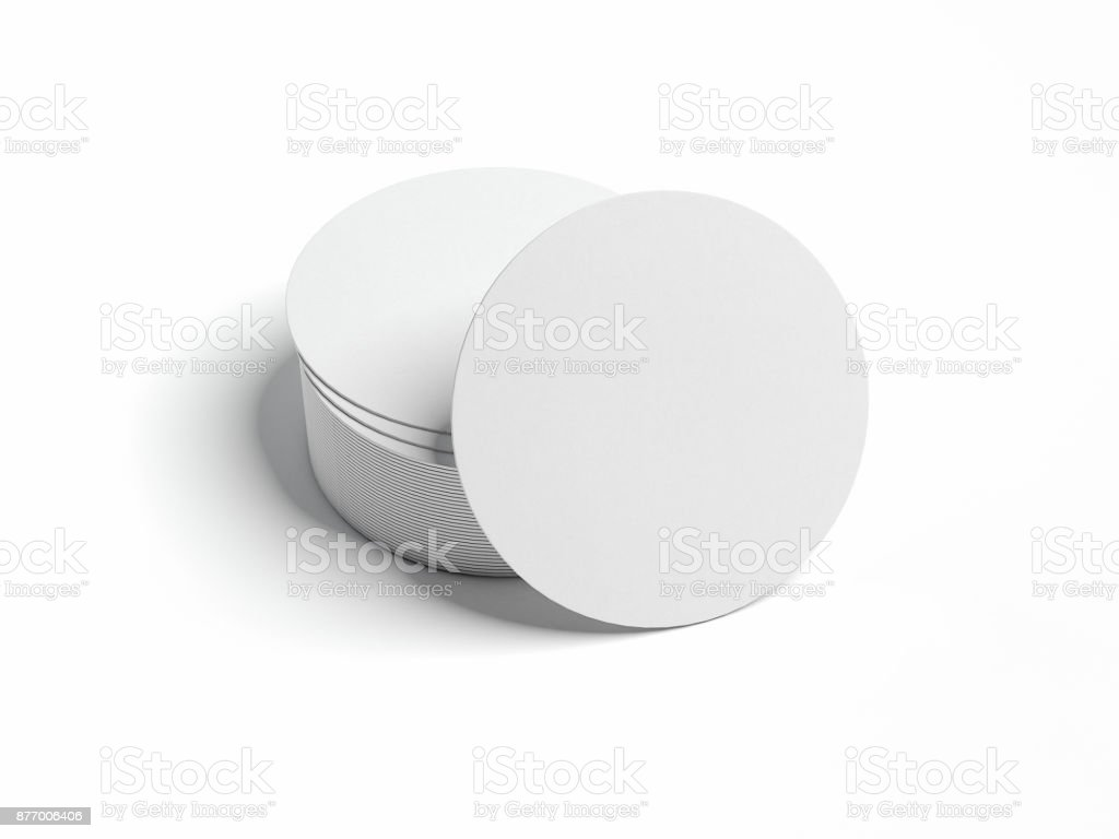 White beer coasters. 3d rendering stock photo