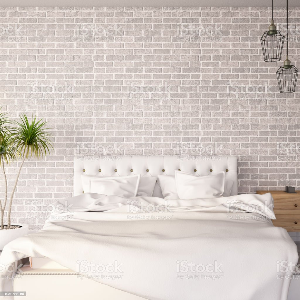 White Beige Bedroom With Brick Wall Stock Photo - Download ...