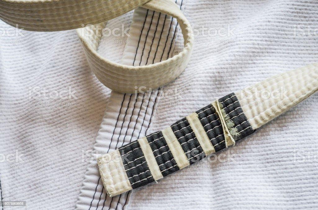 White belt of Brazilian Jiu-Jitsu stock photo