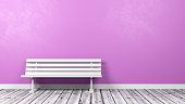 White Bench on Wooden Floor Against Pink Wall with Copy Space 3D Illustration