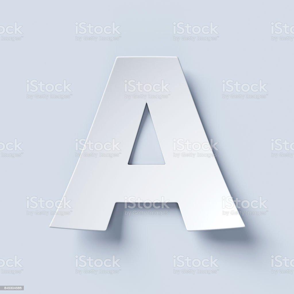 Beyaz kağıt yazı tipi A harfi bükülmüş stok fotoğrafı