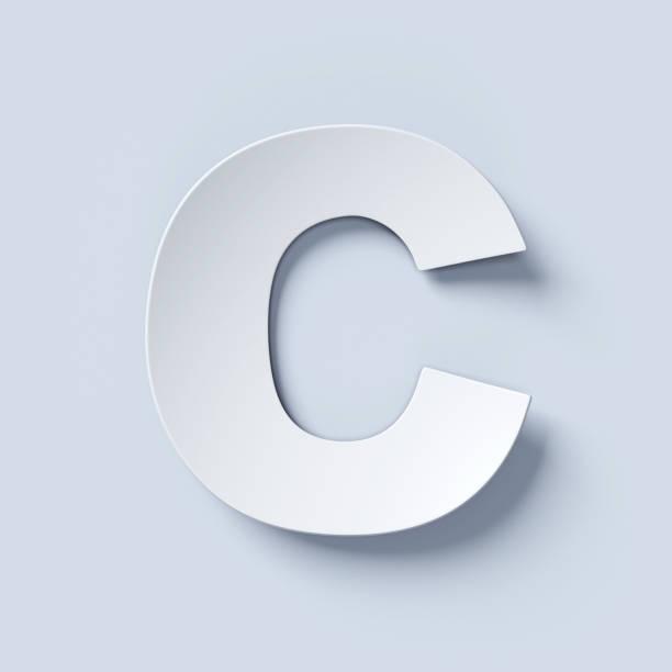 letra de fonte de papel dobrado branco c - c - fotografias e filmes do acervo