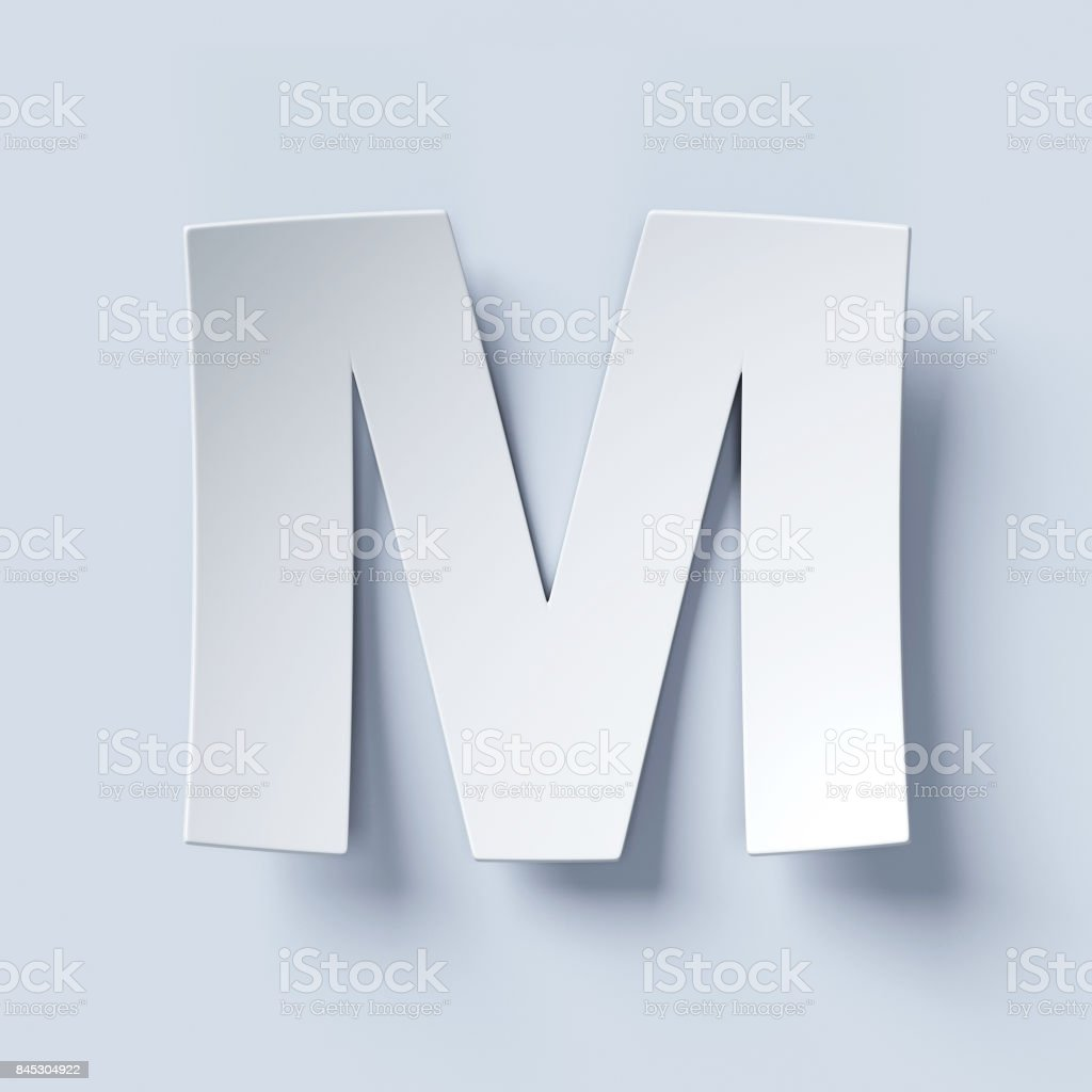 White bent paper font letter M stock photo