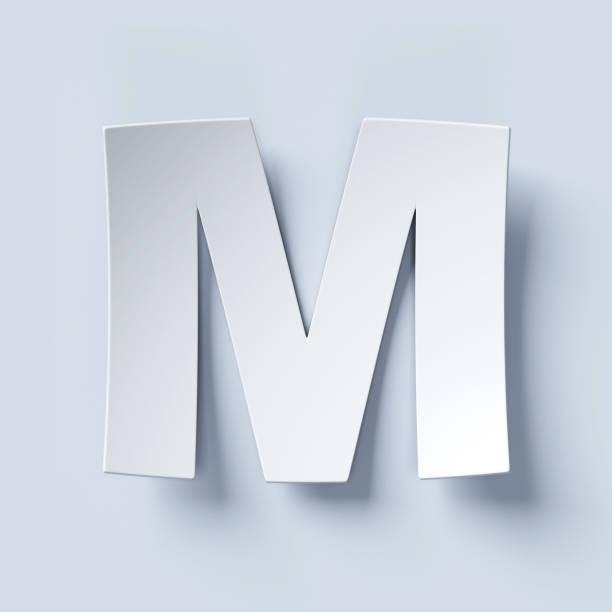 White bent paper font letter M stock photo