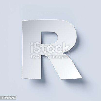 583978558istockphoto White bent paper font letter R 845305082