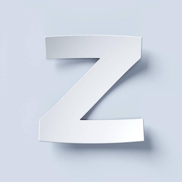 White bent paper font letter Z stock photo