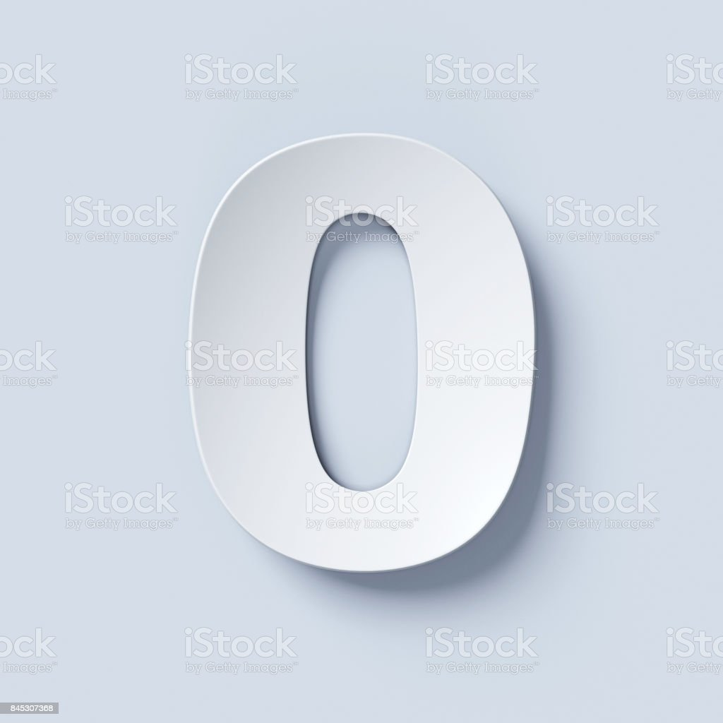 White bent paper font number 0 stock photo