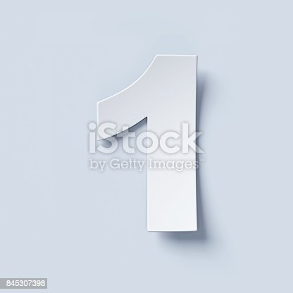 845307398istockphoto White bent paper font number 1 845307398