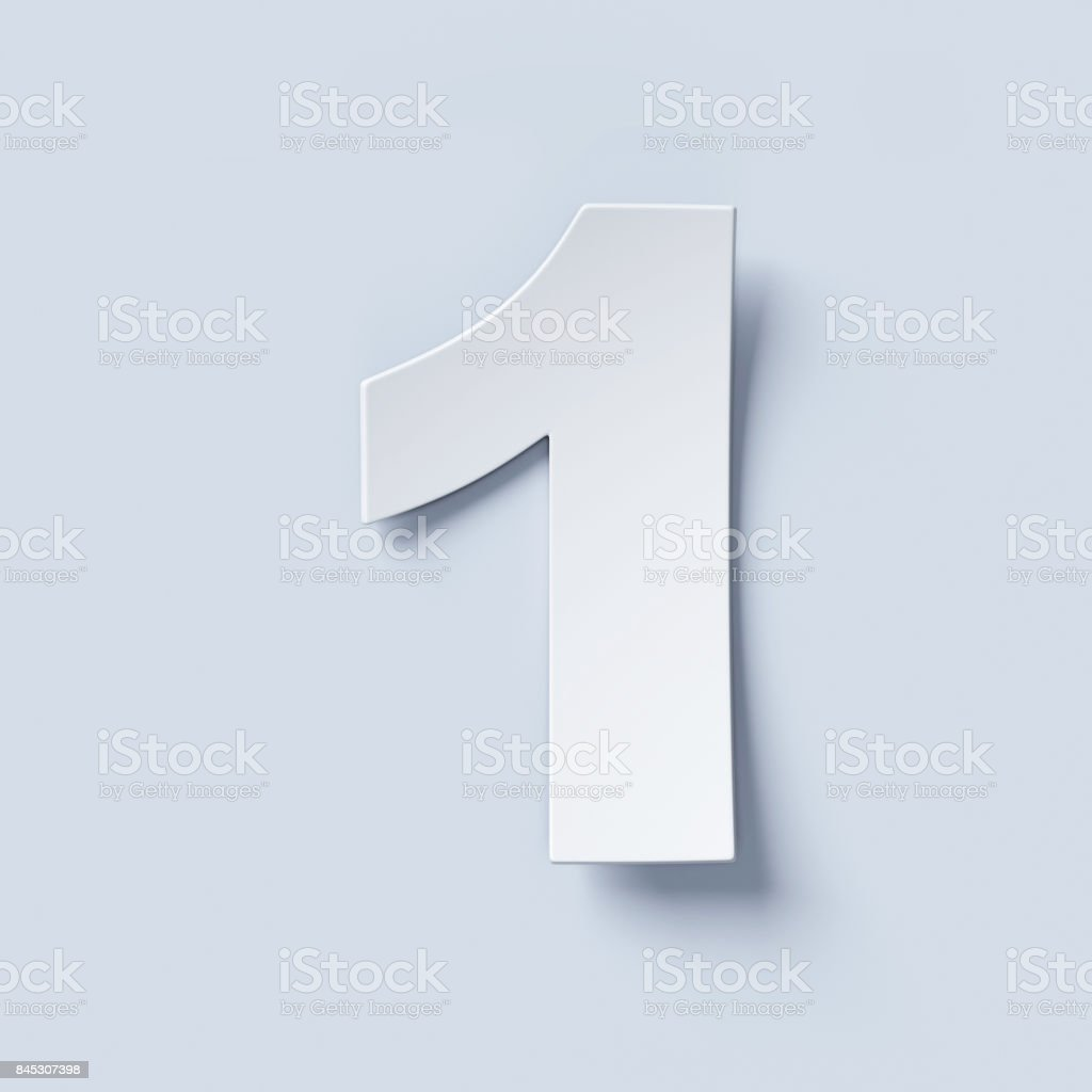 White bent paper font number 1 stock photo