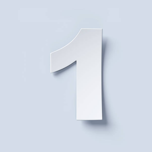 white bent paper font number 1 - number 1 stock pictures, royalty-free photos & images