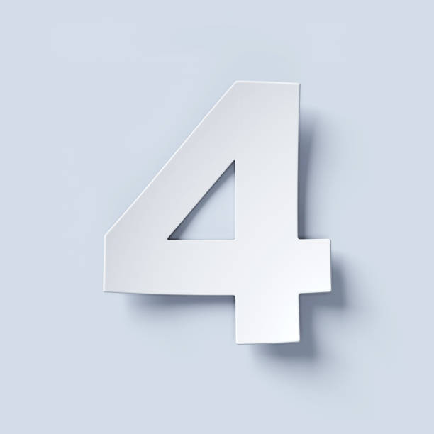 White bent paper font number 4 stock photo