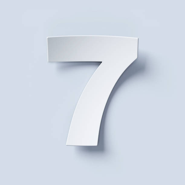 White bent paper font number 7 stock photo