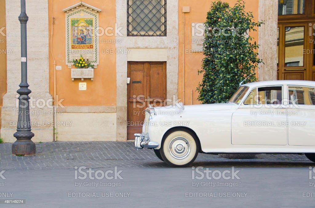 White Bentley in Piazza San Lorenzo in Lucina, Rome stock photo