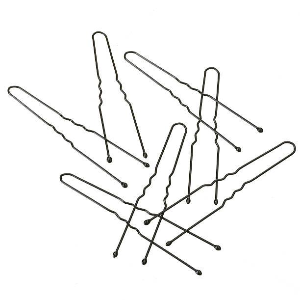 white bg-bobby-pins - haarnadeln stock-fotos und bilder