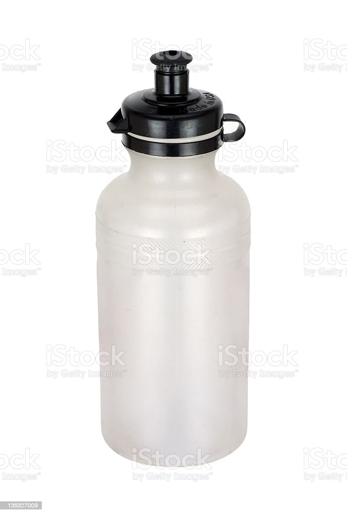 A white bicycle water bottle with a black top on white royalty-free stock photo