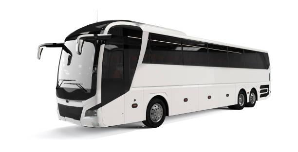 weiße große tour bus vorne links winkelansicht isoliert auf weißem hintergrund. 3d-rendering, illustration. - tour bus stock-fotos und bilder