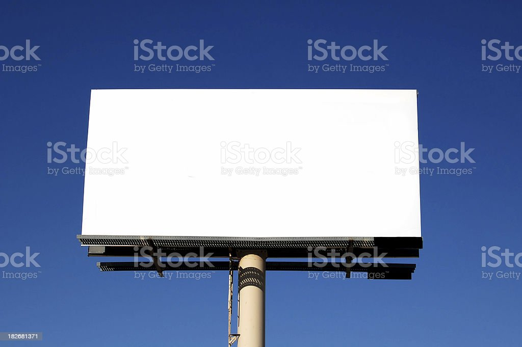 white billbaord with blue sky stock photo