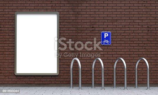 istock White billboard and empty bike parking 691893044