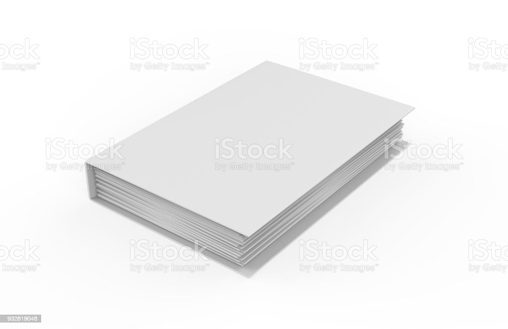 Cahier blanc sur fond blanc isolé, illustration 3d - Photo