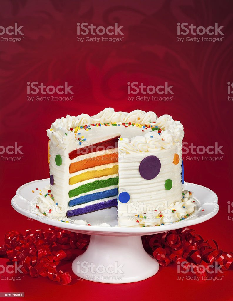 White Birthday Cake Cut Open To Reveal Rainbow Layers Royalty Free Stock Photo