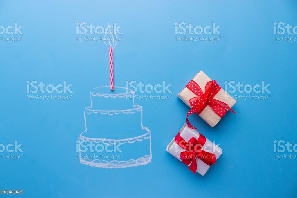 sketch of White birthday cake over blue background