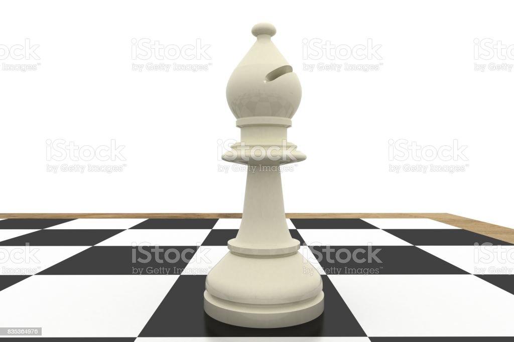 White bishop on chess board stock photo