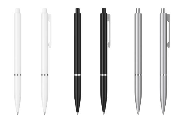 white, black and metal mockup ballpoint pens with blank space for yours logo or design. 3d rendering - ручка для письма стоковые фото и изображения