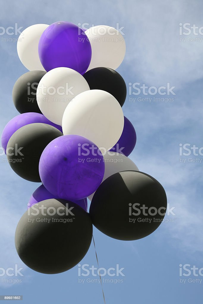 White Black And Purple Balloons Stock Photo More Pictures Of